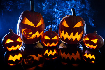 Collection of halloween pumpkin on black background