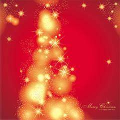 Hintergrund in rot mit Weihnachtsbaum