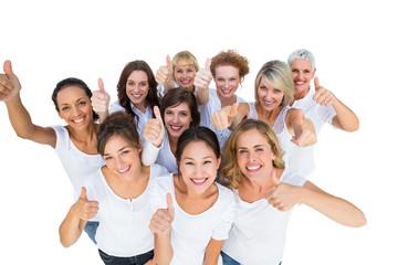 Positive female models smiling at camera