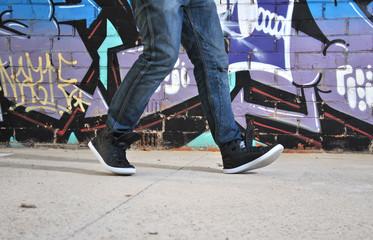 legs of a walking break dance