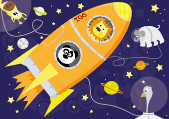 animals in outer space - vector illustration