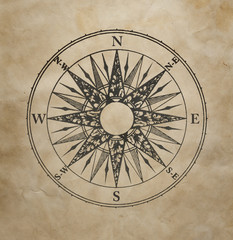 Wind rose on the old grunge paper