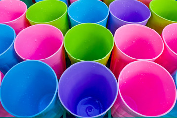 row of plastic cup