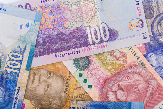 Close up of South African currency the Rand