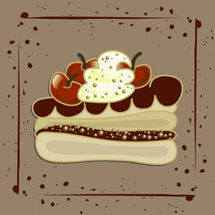 Illustration of a slice of chocolate cake