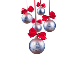 Bright blue Christmas balls isolated on the white background