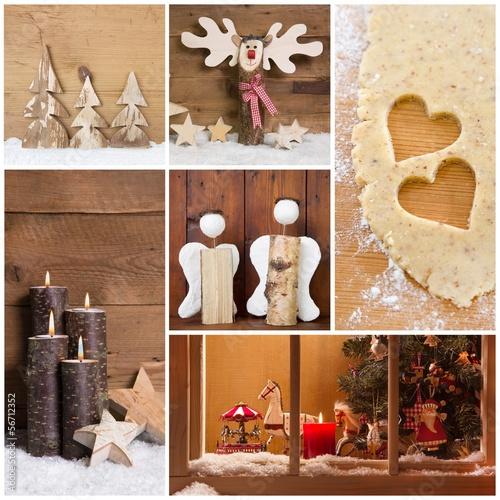weihnachten collage als weihnachtskarte mit holz. Black Bedroom Furniture Sets. Home Design Ideas
