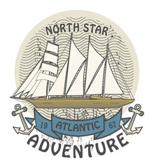 Stamp with the words Atlantic Adventure written inside, vector