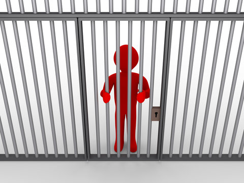 Person behind bars as a prisoner