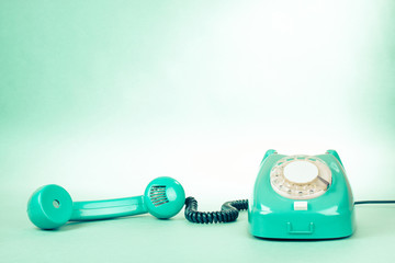 Retro mint green telephone photo for background