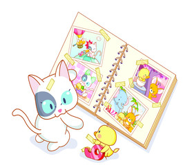 cat and chicks cartoon looking at photo album