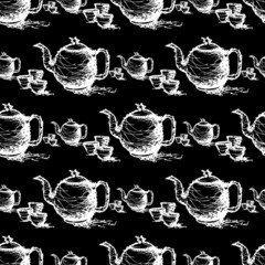 seamless pattern drawing of  teapot vector