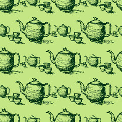 seamless pattern drawing of green  teapot vector