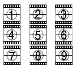 camera and cinema film strip vectors