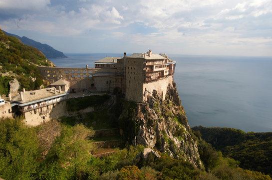Simonos Petras monastery view from above, Mount Athos