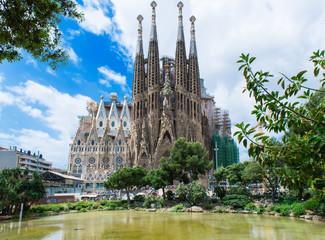 view of Sagrada Familia in Barcelona. Spain