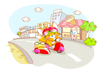 cute cartoon animals riding motorcykle