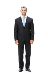 Full-length portrait of businessman, isolated