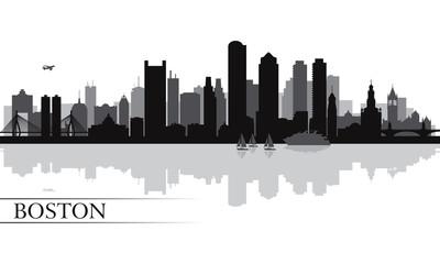 Boston city skyline silhouette background
