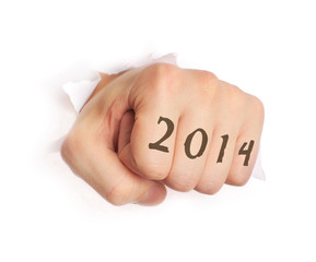 Hand with 2014 tattoo