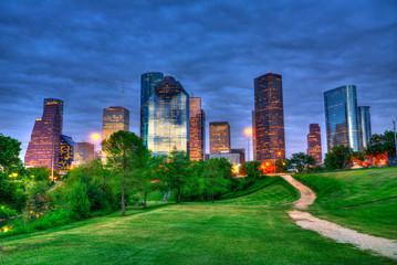 Fototapete - Houston Texas modern skyline at sunset twilight from park