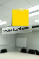 Yellow note message n Meeting room,take photo from mirror