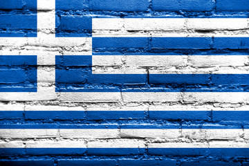 Greece Flag painted on old brick wall