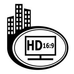 HD display black city icon.