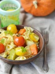 pasta with tomato and pumpkin