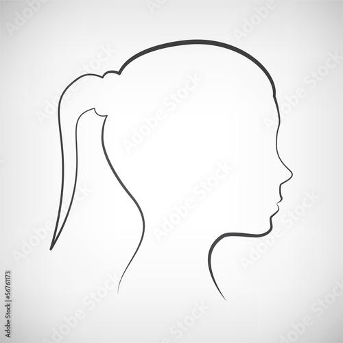 Kopf Frau Seite Silhouette Kontur\