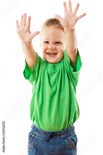 fb5f6d29d2e8b Funny little boy with raised hands