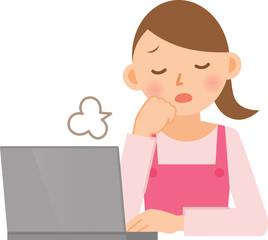 女性 エプロン PC