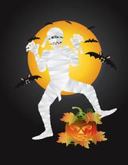 Halloween Mummy Carved Pumpkin Illustration