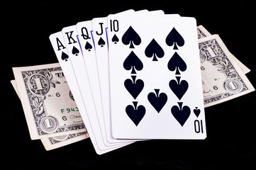 Flush royal cards with money
