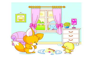 cute animals cat and duck playing in the room