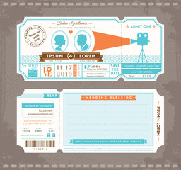 Movie Ticket Wedding Invitation Design Template
