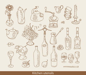 set of images of kitchen ware