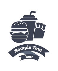 vector emblem of traditional fastfood in info-graphic style