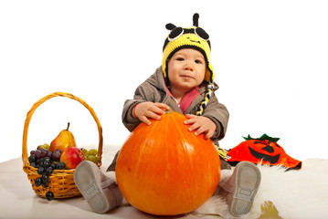 Autumn baby boy with bee hat