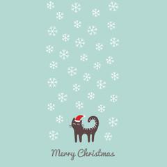 Christmas card with cute santa cat