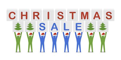 Men holding the words Christmas Sale. Concept 3D illustration.