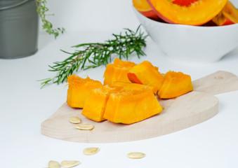 Fresh pumpkin slice with seeds