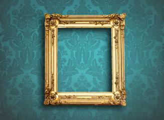 picture empty frame on blue vintage wallpaper