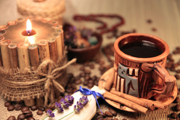 Naturmort With Cup of Coffee, Coffee Beans And Candle