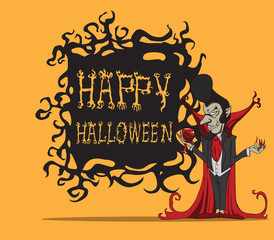 Cartoon Count Dracula. Halloween monster