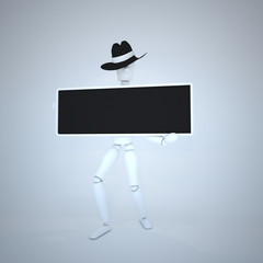 3D human figure character holding a black board
