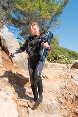 Young female scuba diver