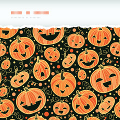 vector Halloween pumpkins horizontal torn frame seamless pattern