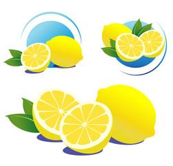 Lemons set, isolated on white.