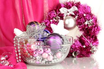 Christmas decorations close up